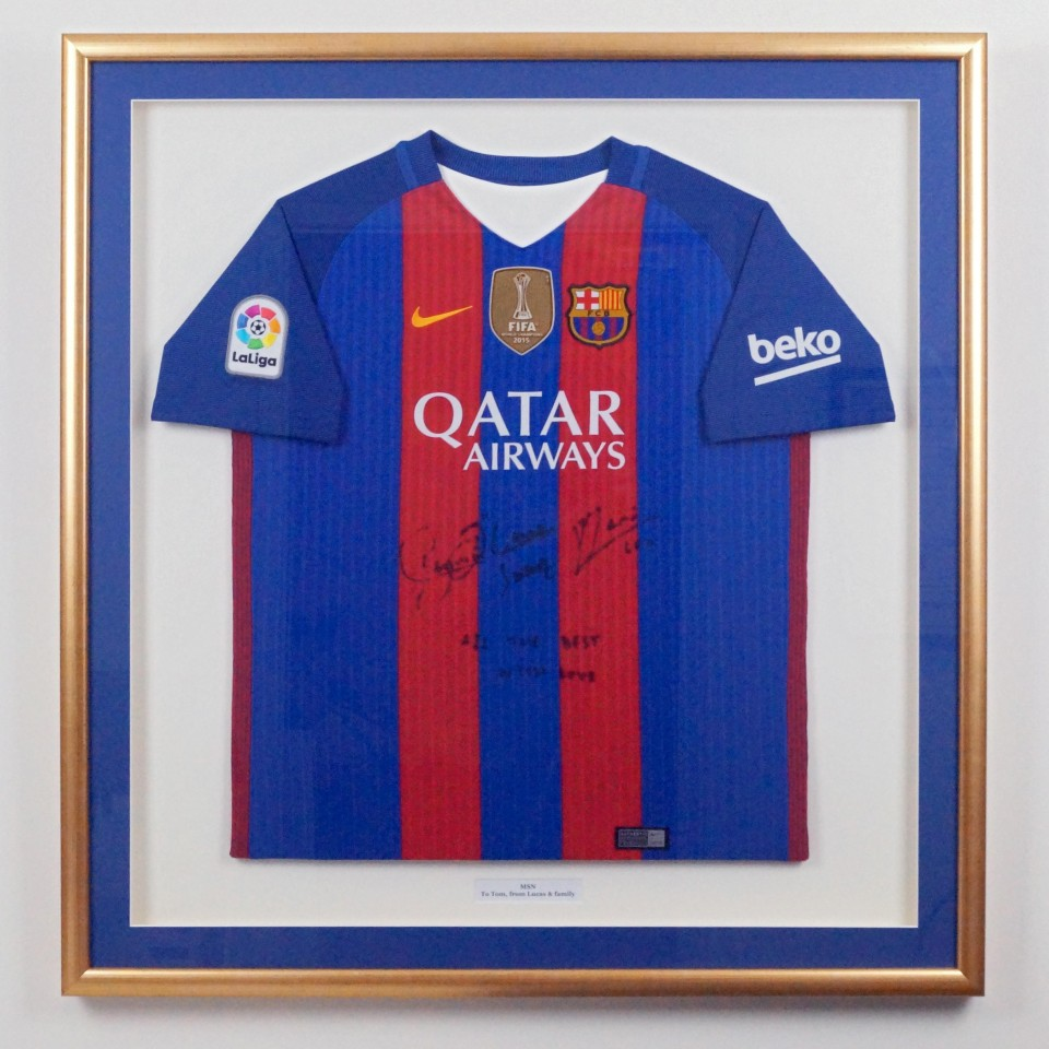 best website 1bc3a feca4 Framed Barcelona Football Shirt - Art Framing